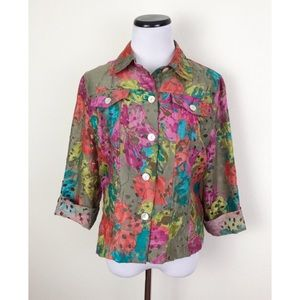 Ruby Rd. Floral Button Front Shirt